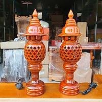 Cặp đèn thờ gỗ cao 34 Cm loại 1 rất đẹp