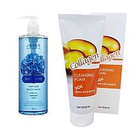 Sữa Tắm Trắng Da Hương Thơm Xạ Hương_Javin De Seoul White Musk Perfume Body Wash 500ml + Sữa rửa mặt Collagen_Verobene Collagen Cleansing Foam 150ml