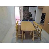 Bộ bàn ăn 6 ghế mango xuất khẩu ngang 1m6