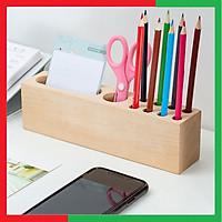 Hộp khay cắm đựng bút viết kèm giá để điện thoại bằng gỗ Thông nguyên khối,Giúp bàn làm việc gọn gàng ngăn nắp,Kích thước 23 x 5 x 6,5cm - Hộp đựng bút viết để bàn bằng gỗ
