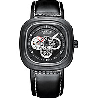TEVISE T843A Men Automatic Mechanical Watch 24 Hours Display Fashion Casual Timer Leather Strap 3ATM Waterproof Luminous