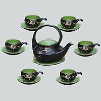 Bộ ấm chén men thủy tinh Thiên Nga nhỏ gốm sứ Bát Tràng (bộ bình uống trà, bình trà)