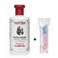 Nước hoa hồng THAYERS Alcohol-Free Witch Hazel Toner - Rose Petal 355ml + Tặng Túi Bông tẩy trang Ipek 80 miếng
