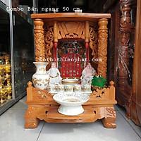 COMBO Bộ bàn thờ thần tài ông địa ngang 60 cm gỗ gõ đỏ