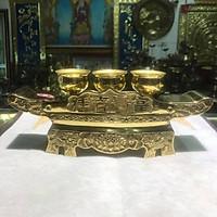 Bộ khay và 3 chén bằng đồng vàng ban thần tài