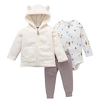 Baby Girls Clothes Sets Long-Sleeved Plus Velvet Coat Trousers Boys And Girls Cartoon Letter Love Print Pants Hooded Jacket