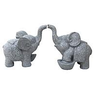 Cặp tượng voi đá trang trí N1 - màu đá