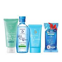 Bộ sản phẩm Senka làm sạch và chống nắng dành cho da mụn (Senka A.L.L.Clear Water Fresh 230ml + SRM Acne Care 100g + Senka Perfect UV Essence 50g) - Tặng Khăn giấy tẩy trang Senka 44 miếng