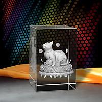 Tượng 3D Con Mèo (Mão) - Trang Trí Xe Ô tô/ Bàn Làm Việc - Bằng Pha Lê