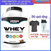 Combo Sữa tăng cơ giảm mỡ Whey Protein Powder của RSP hương Chocolate hộp 51 lần dùng hỗ trợ tăng cơ, giảm cân đốt mỡ, phục hồi cơ bắp & Bình lắc 600ml (Mẫu ngẫu nhiên) & Áo thun thể thao (Size M 57-68kg)