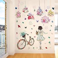 Decal dán tường Lồng chim sắc màu và cô gái xe đạp - HP347