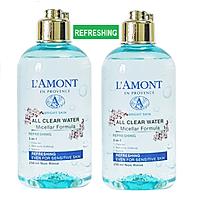 Combo 2 Nước Tẩy Trang Tươi Mát Sáng Da All Clean Water Micellar Fomula Refreshing Lamont En Provence (250ml x 2 Chai)