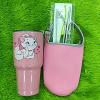 Ly giữ nhiệt Thái Lan 900ml _ tặng 2 ống hút inox + 1 túi xách + 1 cọ rửa ống hút _ mèo hồng