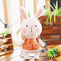 Gấu bông Thỏ má hồng mặc váy đầu thỏ cổ viền ren