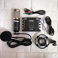 Bộ thu âm live stream Soundcard K10 và BM 900 hàng nhập khẩu