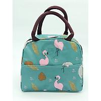 Túi xách giữ nhiệt màu xanh ngọc in hạc hồng, voi xám loại tốt dày GD012