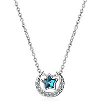 Dây chuyền nữ Mặt trăng kim cương ngôi sao xanh