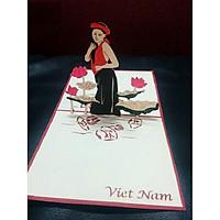 Thiệp 3D Việt Nam - Thiếu nữ trong đầm sen - T06