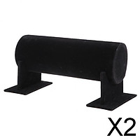 2xVelvet T-Bar Headband Holder Retail Shop Jewelry Display Stand Rack Black