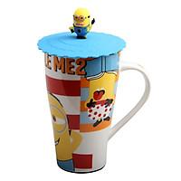Ly uống nước bằng Ceramic Porcelain 500ml (có nắp đậy Silicone) Cao 15cm