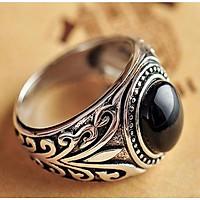 nhẫn nam bạc thái 925- đá onyx đen cao cấp -hnha011