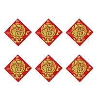 Combo 6 Decal Giấy Nhung Đỏ Chữ Vàng Kim Tuyến Dán Trang Trí Nhà Cửa, Bàn Thờ, Trái Cây Loại Trung