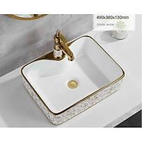 Chậu lavabo vuông đặt bàn hoa văn vàng  EVE-L6016