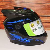 Mũ Bảo Hiểm Fullface Phượt Moto tem đẹp xanh dương kèm sừng đen siêu chất