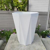 Bộ 05 chậu nhựa trồng hoa tám cạnh lớn trắng 33cm x 41cm trồng hoa kiểng