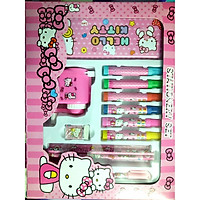 Bộ dụng cụ học tập 13 món cho bé hình mèo kitty màu hồng