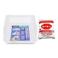 Combo Khay Đựng Thực Phẩm Khô Nhà Bếp (Cỡ Vừa) + Bột Ngọt Ajinomoto Gói 1kg - Nội Địa Nhật Bản