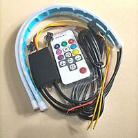 Bộ 2 Đèn Led RGB Streamer Dán Đèn Xe Xi Nhan Nháy Đuổi Kèm Remote Chuyển Màu Tùy Thích