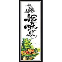 Decal dán tường khung tranh thư pháp đẹp QUÊ NHÀ KT 30 x 80 cm