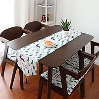 Khăn trải bàn table runner vải bố - Họa tiết Thông tuần lộc - mẫu E09