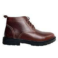 Giày Boot Nam Cao Cổ Buộc Dây Tăng Chiều Cao Da Bò Thật Nguyên Tấm HN008 Nâu
