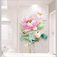 Tranh dán tường 3D hoa sen hồng TDT01