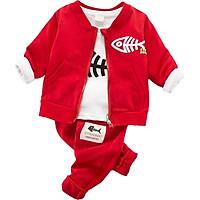 3pcs/set Autumn Kids Clothes for Boys Baby Boy Cotton Long Sleeve Stripe T-shirt Tops+Hooded Vest Sweatshirt+Trousers Outfits