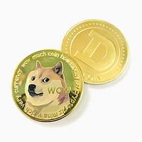 Xu kỷ niệm Dogecoin Vàng Dùng để sưu tầm, giải trí trang trí bàn sách, bàn làm việc, làm quà tặng dễ thương ý nghĩa, kích thước 4cm, màu vàng - TMT Collection - SP005311