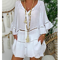 New Hot Sale Sunmmer Women Three-Quarter Sleeve Cotton and Linen Buttons Hollowed-out V-Neck Plus Size Shirt for Women