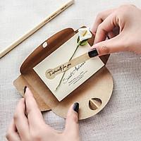 Thiệp Giấy Trang Trí Hoa Khô Thủ Công, Thiệp Handmade Giấy Kraft Vintage Quà Tặng Sinh Nhật, Lễ Tình Nhân