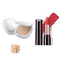 Bộ trang điểm VDIVOV son môi Lip Cut Rouge RD306 CLASSY RED 3.8g và phấn phủ mịn mượt Silk Wear Powder Pact 21N Sand Ivory SPF30 PA++ 13g
