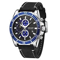 Đồng hồ đeo tay nam Quartz  MEGIR Analog Chronograph có lịch 3ATM Mặt số phát sáng không thấm nước thời trang - Dây đeo màu đen & Vỏ đồng hồ màu bạc