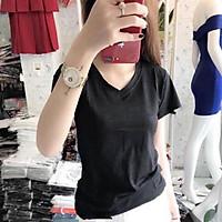 Áo phông nữ, áo thun cổ tim chất giấy siêu mát