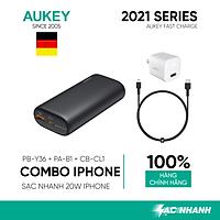 Combo Sạc Nhanh Dành Cho iPhone 12 Series AUKEY | Cốc Sạc 20W PA-B1, Cáp C-Lighnting 20W CB-CL1, Pin 10000mAh PD + QC3 PB-Y36 - Hàng Chính Hãng
