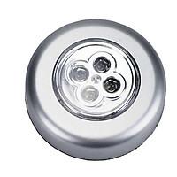 Đèn 4 led siêu sáng hình tròn có băng keo 2 mặt dán tường, tủ quần áo, cốp xe (Tặng kèm miếng thép đa năng 11in1)