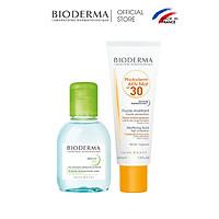Bộ đôi kem chống nắng dành cho da dầu, da mụn Bioderma Photoderm AKN Mat SPF30 40ml và tẩy trang Sebium H2O 100ml