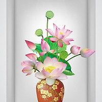 Tranh dán tường ô 3D lọ hoa sen đẹp 005 KT 40 x 60 cm