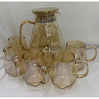 Bộ bình đựng nước thủy tinh kèm 6 ly màu vàng sang trọng - ANTH666