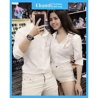 Áo Sơ Mi Nam Nữ Unisex cao cấp Thương Hiệu Chandi, chất lụa không bai nhão không xù lông tôn dáng mẫu mới nhất 2021 SM17