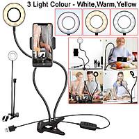 Selfie Flash Ring Light Mobile Phone Holder 24 LED Camera Long Arm USB Clip